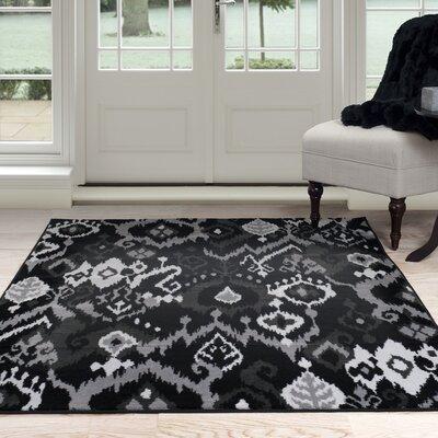 Ikat Black/Gray Area Rug Rug Size: 4 x 6