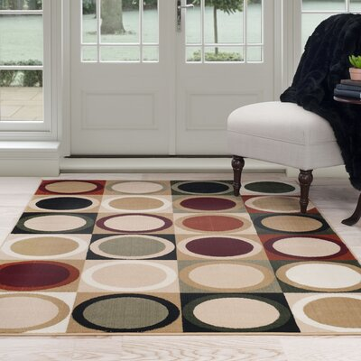 Circles Beige/Green Area Rug Rug Size: 5 x 77