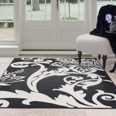 Floral Black/White Area Rug Rug Size: 33 x 5