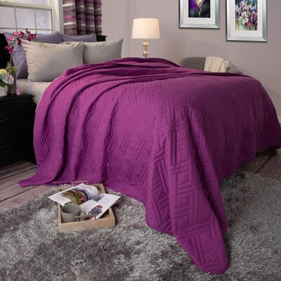 Summer Quilted Blanket Size: Full / Queen, Color: Purple
