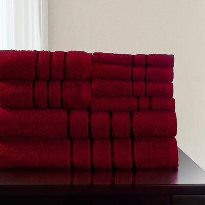 8 Piece Towel Set Color: Burgundy