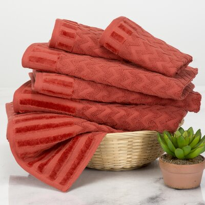 Chevron 6 Piece Towel Set Color: Brick