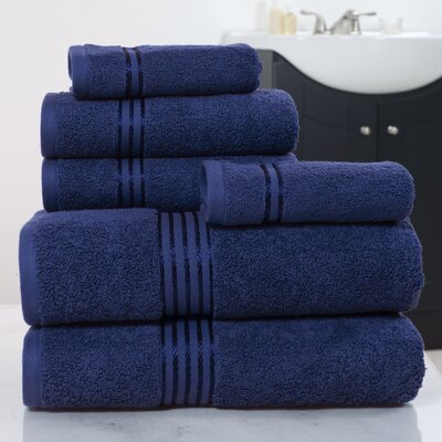 6 Piece Towel Set Color: Navy