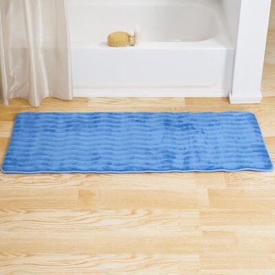 Memory Foam Long Bath Rug Color: Blue