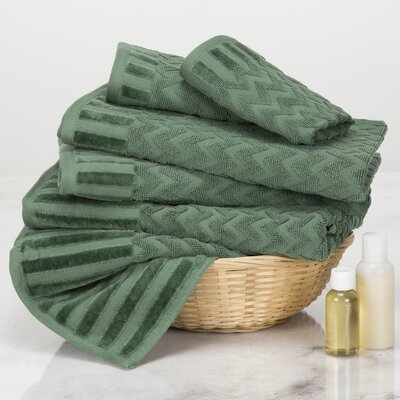 Chevron 6 Piece Towel Set Color: Green