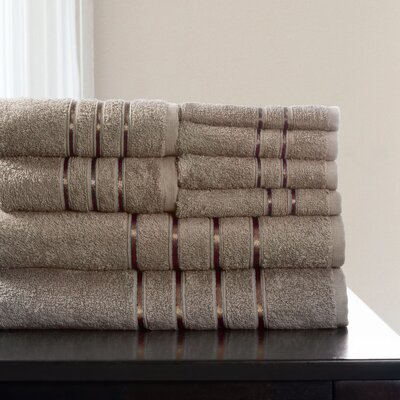 8 Piece Towel Set Color: Taupe