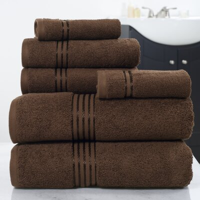 6 Piece Towel Set Color: Chocolate