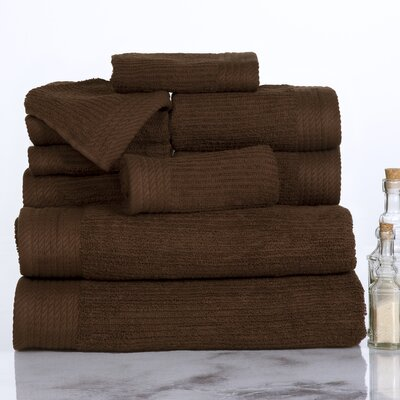 Ribbed 10 Piece Towel Set Color: Chocolate