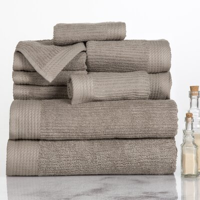 Ribbed 10 Piece Towel Set Color: Taupe
