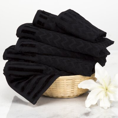 Chevron 6 Piece Towel Set Color: Black