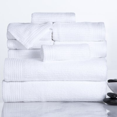 Ribbed 10 Piece Towel Set Color: White