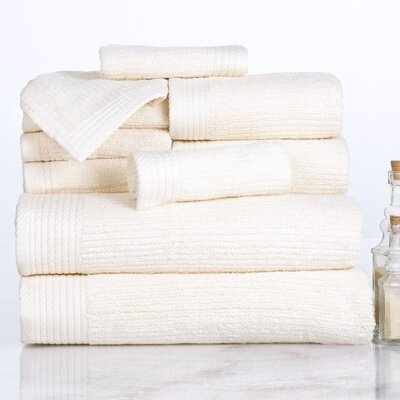 Ribbed 10 Piece Towel Set Color: Bone