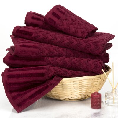 Chevron 6 Piece Towel Set Color: Burgundy