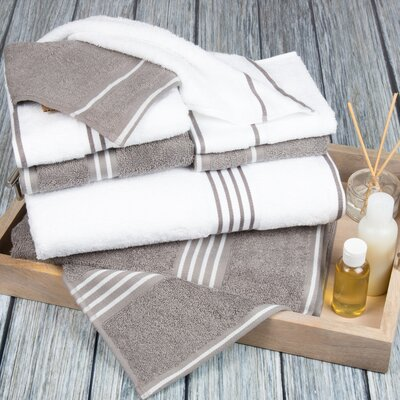 8 Piece Towel Set Color: White / Silver