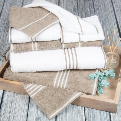 8 Piece Towel Set Color: White / Taupe