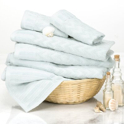 Chevron 6 Piece Towel Set Color: Seafoam
