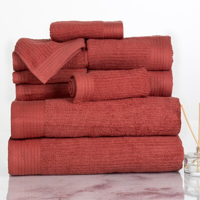 Ribbed 10 Piece Towel Set Color: Brick