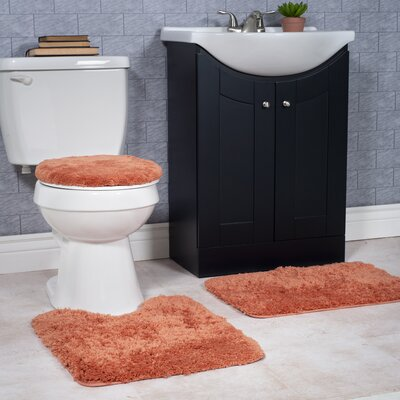 Non-Slip 3 Piece Bath Rug Set Color: Rust