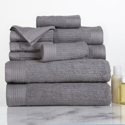 Ribbed 10 Piece Towel Set Color: Silver