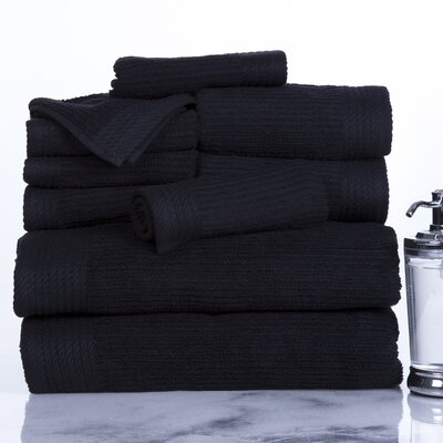 Ribbed 10 Piece Towel Set Color: Black