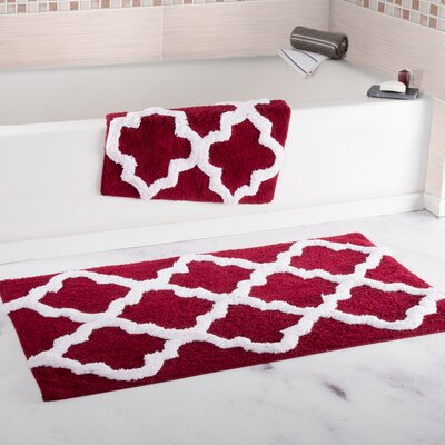 2 Piece Cotton Trellis Bath Rug Set Color: Burgundy
