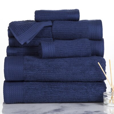 Ribbed 10 Piece Towel Set Color: Navy
