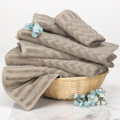 Chevron 6 Piece Towel Set Color: Taupe