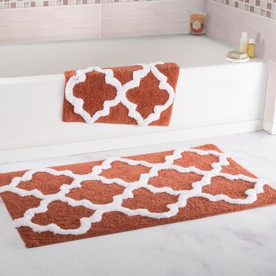 2 Piece Cotton Trellis Bath Rug Set Color: Brick