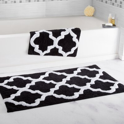 2 Piece Cotton Trellis Bath Rug Set Color: Black