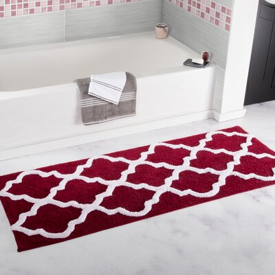Long Trellis Bath Rug Color: Burgundy
