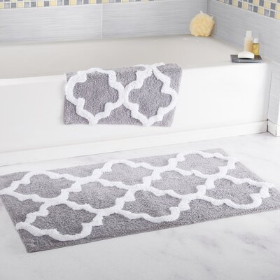 2 Piece Cotton Trellis Bath Rug Set Color: Silver