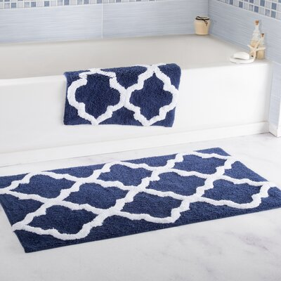2 Piece Cotton Trellis Bath Rug Set Color: Navy