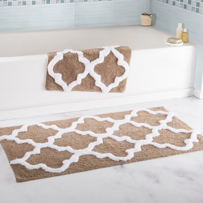 2 Piece Cotton Trellis Bath Rug Set Color: Taupe