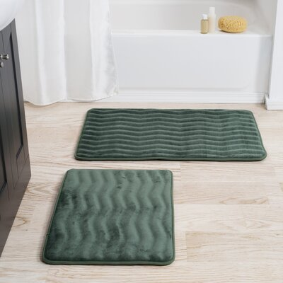 Memory Foam 2 Piece Bath Rug Set Color: Green