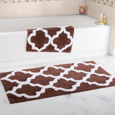 2 Piece Cotton Trellis Bath Rug Set Color: Chocolate