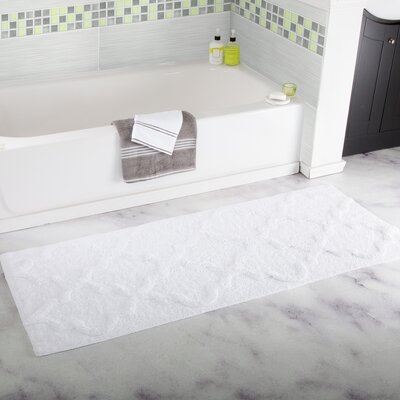 Long Trellis Bath Rug Color: White