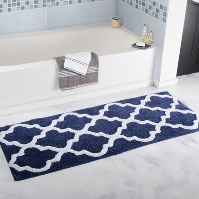 Long Trellis Bath Rug Color: Navy