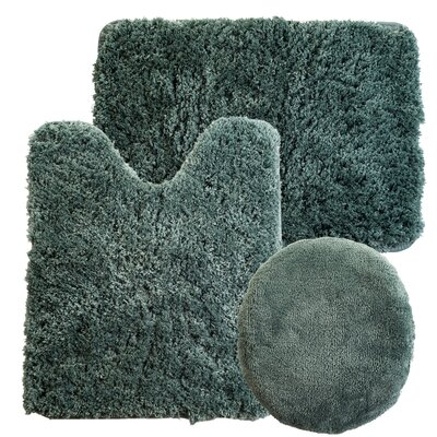 Non-Slip 3 Piece Bath Rug Set Color: Green