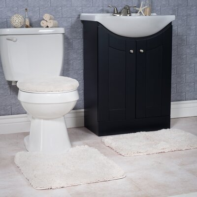 Non-Slip 3 Piece Bath Rug Set Color: Ivory