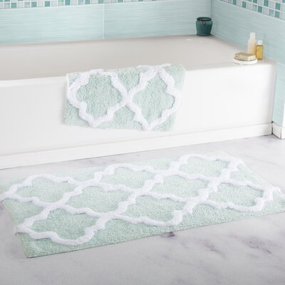 2 Piece Cotton Trellis Bath Rug Set Color: Seafoam