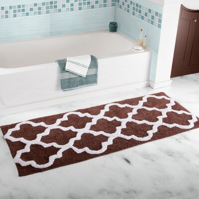 Long Trellis Bath Rug Color: Chocolate