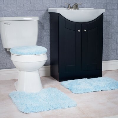 Non-Slip 3 Piece Bath Rug Set Color: Blue