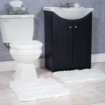 Non-Slip 3 Piece Bath Rug Set Color: White