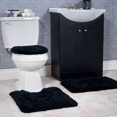 Non-Slip 3 Piece Bath Rug Set Color: Black
