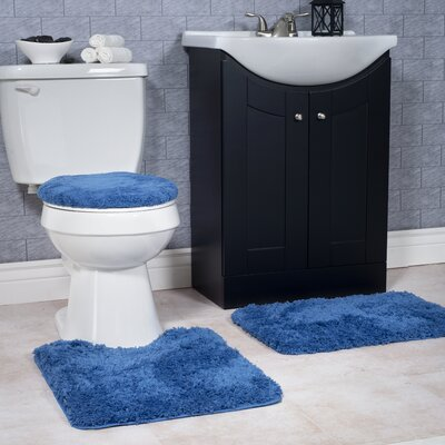 Non-Slip 3 Piece Bath Rug Set Color: Navy