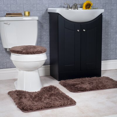 Non-Slip 3 Piece Bath Rug Set Color: Chocolate