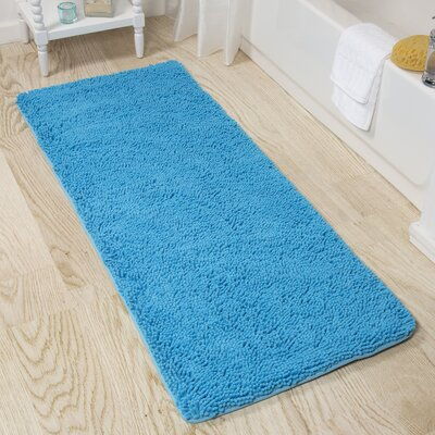 Shag Bath Rug Color: Blue
