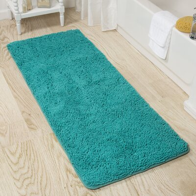 Memory Foam Shag Bath Rug Color: Seafoam