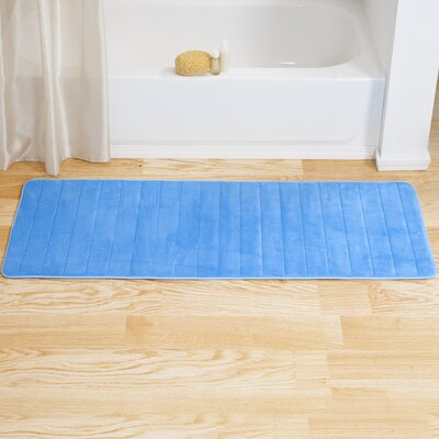 Memory Foam Long Bath Rug Color: Blue