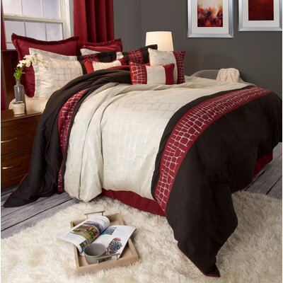 Comforter Set Color: Burgundy, Size: Queen